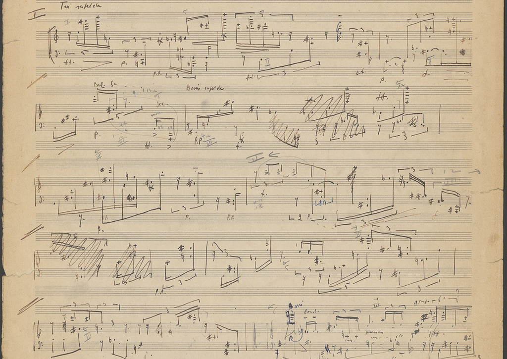 Jean Barraqué. Sonate pour piano. Particellentwurf, S. 1, 1950/52. Akademie der Künste, Berlin, Jean-Barraqué-Archiv 18. © Association Jean Barraqué, Paris, und Akademie der Künste, Berlin. CC BY-NC-ND.